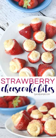 These no bake strawberry cheesecake bites are SO easy to make! A delicious sweet treat that makes a great dessert for parties, brunch, or as an afternoon snack!