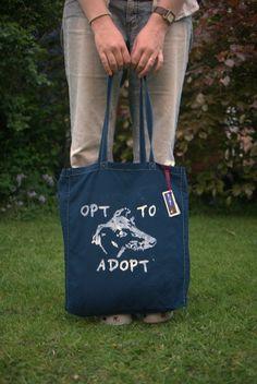 Greyhound adoption tote bag