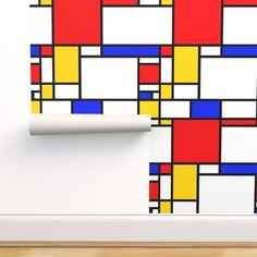 Geometric Wallpaper - Mondrian by thewellingtonboot - Grid Blocks Primary Colors Bauhaus Mondrian Wallpaper Roll by Spoonflower Self Adhesive Wallpaper, Custom Wallpaper, Wallpaper Roll, Peel And Stick Wallpaper, Geometric Wallpaper, Colorful Wallpaper, Prepasted Wallpaper, Mondrian, Traditional Wallpaper