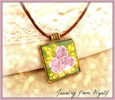 Rose Polymer Clay Pendant by jewelryfimo on Etsy, $21.99