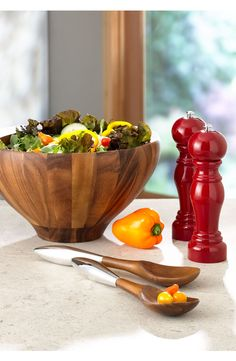Excited to host a Sunday brunch with this beautiful Nambé wood salad bowl & server!