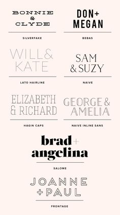 color scheme + font 'will & kate' 'sam & suzy' 'joanne + paul'
