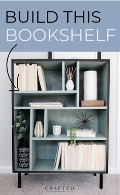 Looking to build a bookshelf? Try these easy-to-follow plans! Finished with the @minwax 2021 Color of the Year: Vintage Blue! The nostalgic color is the perfect fit for this mid-century modern bookshelf. Available in both Solid and Semi-Transparent Wood Finish Water-Based Color Stains. #sponsored #bookshelfdiy #diyfurniture Diy Bookshelf Plans, Modern Bookshelf, Bookshelves, Diy Furniture Tutorials, Diy Furniture Plans, Diy Projects, Farmhouse Dining Room Table, Family Room Furniture, Diy Nightstand
