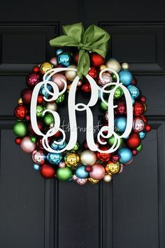 Monogrammed Ornament Wreath 16 by charminglittlenest on Etsy so pretty for christmas Christmas Time Is Here, Merry Little Christmas, Winter Christmas, All Things Christmas, Christmas Wreaths, Christmas Decorations, Xmas, Christmas Door, Christmas Ideas