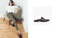 9bc89f6925e MADEWELL THE ELIN BACKLESS LOAFER 7.5 Black Leather Slip On Mules Flats  Shoes  Madewell