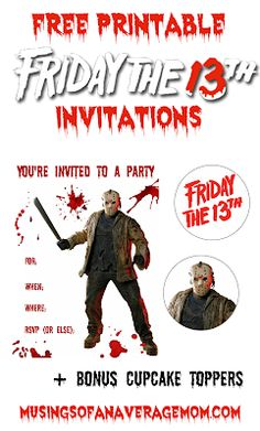 Free Printable Friday the 13th Invitations plus free cupcake toppers! Halloween Activities, Halloween Projects, Holiday Activities, Holiday Crafts, Halloween Ideas, Disney Printables, Free Printables, Friday The 13th, Youre Invited