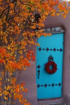 Blue door with fall colors in Santa Fe, New Mexico. Cool Doors, Unique Doors, Portal, Santa Fe Style, Door Gate, Land Of Enchantment, Southwest Style, Door Knockers, Windows And Doors