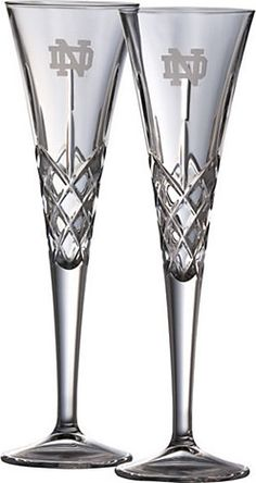 Galway Crystal Glassware Toasting Flutes | University Of Notre Dame | Belleek | Made in Ireland