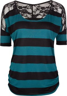 FULL TILT Lace Shoulder Stripe Womens Top 202873512 | Knit Tops & Tees | Tillys.com