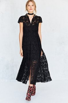 Kimchi Blue Kierra Black Lace Maxi Shirt Dress