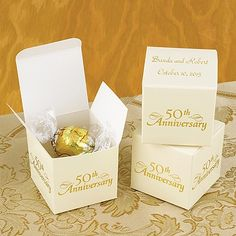 These personalized boxes are perfect for your 50th Anniversary Favors! http://partyblock.carlsoncraft.com/ZB-ZBK1395-50th-Anniversary-Favor-Boxes.pro#imageSelect=105005