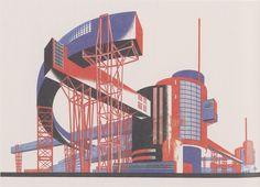 russian constructivist architecture - Hammer and Sickle Architectural Fantasy by Yakov Chernikhov, 1933