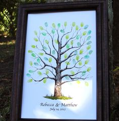 Wedding Guest Book Alternative - Hand drawn Wedding Guest book Fingerprint Tree - Watercolor wedding tree 12x18 on Etsy, $35.00