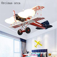 Airplane Lights, Kids Bedroom Boys, Kids Lighting, Leaded Glass, Lamp Design, Glass Shades, Flying Quotes, Chandelier, Bulb