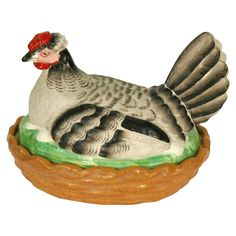 English 19th Century Staffordshire Hen on Nest | From a unique collection of antique and modern animal sculptures at http://www.1stdibs.com/furniture/more-furniture-collectibles/animal-sculptures/