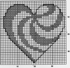 Patterned heart X-stitch chart 2 Pixel Crochet, Crochet Chart, Crochet Motif, Crochet Stitches, Crochet Patterns, Cross Stitch Heart, Cross Stitch Cards, Cross Stitching, Cross Stitch Embroidery