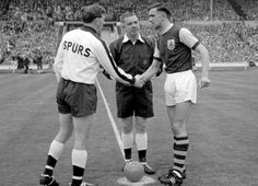 1962 FA Cup Final Tottenham Hotspur Football Club Vs Burnley Football Club, Capitains Danny Blanchflower & Jimmy Adamson.