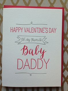Valentine's Day Card - Baby Daddy - Cute Funny Valentine's Day card for husband, boyfriend, baby daddy  - Letterpress Valentine Card on Etsy, $5.50