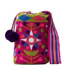 Tienda online de Bolsos Wayuu étnicos y artesanales en Madrid |Full Moonrise Cotton Bag, Cotton Thread, Fabric Drawing, Punch Needle, Vera Bradley Backpack, Weaving, Pattern, Crafts, Handmade