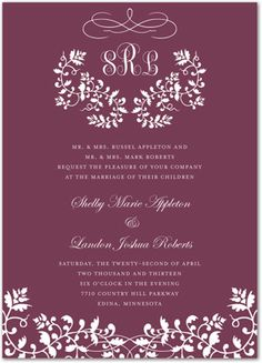 This invitation features elegant floral filigree in white over a rich wine colored background. This monogram design is perfect for any formal event. Casual Wedding Invitations, Party Invitations, Monogram Design, Filigree, Wine, Elegant, Formal, Classy, Preppy