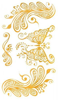 "Wonbeauty Gold temporary tattoos size 4.92""x2.56"" India & Middel Eastern Style Butterfly and feather Golden gold jewelry tattoos. Safe and non-toxic design ideal for body art. Professional grade made to last 3 to 5 days and easily transferred by water. Perfect for vacations, girls night, pool parties, bachelorette parties, or any other event you want to look glamorous."
