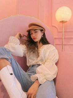Korean Street Fashion, Asian Fashion, Girl Fashion, Fashion Outfits, 70s Fashion, Ulzzang Fashion, Ulzzang Girl, Korean Girl, Asian Girl