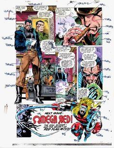 1990's Vintage original Marvel Comics X-Men 17 page 22 color guide art:Omega Red
