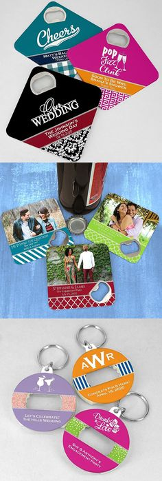 Useful Wedding Favors - A classic wedding favor with a modern twist. Bottle opener wedding favors don't have to be boring. From coasters to key rings, personalized bottle opener favors are useful wedding takeaways guests will actually use. These bottle opener favors can be ordered at https://myweddingreceptionideas.com/favors-bottle-openers.asp