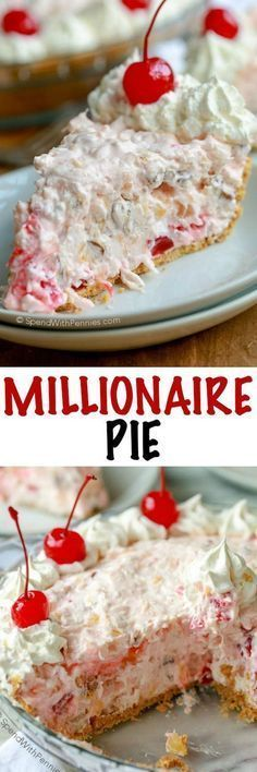 Millionaire Pie is a family favorite. A rich creamy base is loaded with pecans, coconut, pineapple and cherries. You'll need just about 5 minutes to prepare this pie and no baking is required! (southern desserts no bake) Beaux Desserts, 13 Desserts, Delicious Desserts, Yummy Food, Southern Desserts, Weight Watcher Desserts, Sweet Recipes, Cake Recipes, Dessert Recipes