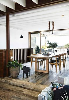 This reverse brick veneer house hides a rich palette of natural materials to create a relaxed coastal haven. For this family, designing their dream beachside home was just the beginning. Mcm House, Interior Styling, Interior Design, Bedroom Ceiling, Timber Flooring, Australian Homes, Funky Furniture, Cat Furniture, Open Plan Kitchen