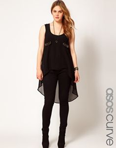 28735419ce1 ASOS CURVE Exclusive Dip Back Top With Studs Hipster Goth