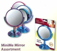 "Mini-Me Pedestal 3X to 1X Mirror, 3½"" Dia, 5"" Ht., Assorted Colors (Case of 12) by First Impressions. $85.92. 5"" Tall, 3½"" Dia., 2½"" Padded Base. Assorted colors Blue, Rose, Pink & Purple. 3X magnifying mirror. Case of 12. Plain mirror on reverse side. The Mini-Me is double sided with one side 3X magnification. Reverses to regular view. Great for the office desk or as a gift. Since it so small and cute, little girls love it too because it's just like Mommy's big mirror. As..."