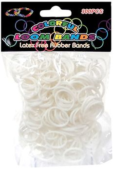 Colorful Loom Bands 300 WHITE Rubber Bands with 'S' Clips