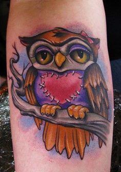 patchwork heart tattoo   Owl Tattoos – Owl Tattoo Designs Gallery