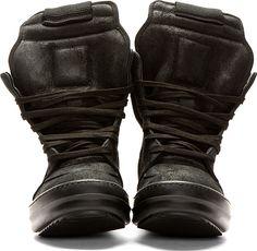Rick Owens Black Geobasket High Top Sneakers
