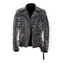 <Strong>Jacket Description</Strong><br/> <Ol> <li>Men's Silver Studded Leather JACKET Custom Patches Long Spike Brando Belted Zipper Christmas Party Wear 100% handmade Stuff</li><br/> <li>SILVER ANTIQUE DECORATED STUD'S and each single Stud is Punched with hands</li><br/> <li>Cropped, Vintage... Classic Leather Jacket, Studded Leather Jacket, Vintage Leather Jacket, Leather Jackets, Denim Jackets, Cowhide Leather, Leather Men, Christmas Party Wear, Custom Patches