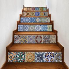 yazi Peel and Stick Tile Backsplash Stair Riser Decals DIY Tile Decals Mexican Traditional Talavera Waterproof Home Decor Staircase Decal Stair Mural Decals x (Set of * Be sure to check out this awesome product. (This is an affiliate link) Stickers Design, Decoration Stickers, Wall Decor Stickers, Decorations, Peel And Stick Tile, Stick On Tiles, Inspire Me Home Decor, Azulejos Diy, Diy Tuiles