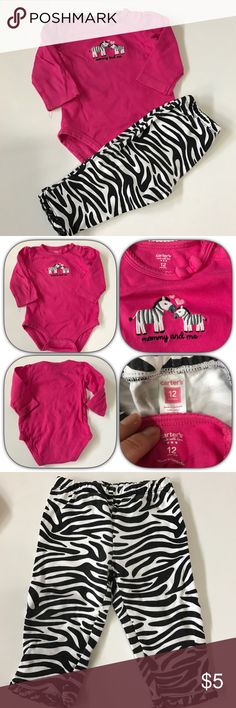 Carter's long sleeve onesie & pant set Carter's long sleeve onesie in pink with two zebras and mommy & me on front; pants are zebra black and white stripes. Shows wash wear & little spot on pink onesie close to bottom snaps (would not be noticeable when wearing the pants) Carter's Matching Sets