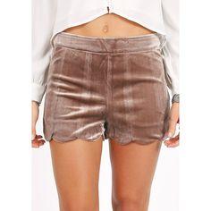 Gemini Velvet Shorts (£28) ❤ liked on Polyvore featuring shorts, scallop hem shorts, scalloped shorts, velvet shorts, brown shorts and scalloped edge shorts