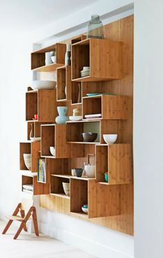 boxes Modern Kitchen Cabinets, Kitchen Furniture, Furniture Design, Wooden Kitchen, Bamboo Furniture, Shelf Furniture, Rustic Kitchen, Storage Shelves, Storage Cubes
