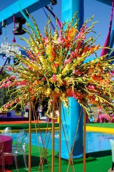 Vibrant Floral Arrangement at Wedding    Photography: bobbi+mike   Read More:  http://www.insideweddings.com/weddings/multi-day-pakistani-wedding-celebration-featuring-bright-colors/796/