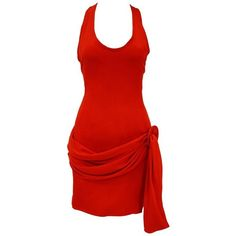 Preowned 1980s Balenciaga Le Dix Red Drape Mini Dress ($445) ❤ liked on Polyvore featuring dresses, mini dress, red, silk short dress, form fitting dresses, red silk dress, sash belt and red dress