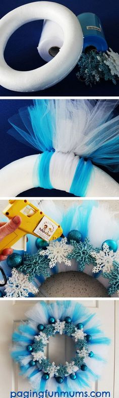 Make your own Frozen Wreath Elsa would be so proud is part of Winter crafts Wreath - Make your own Frozen Wreath Elsa would be so proud a beautiful DIY wreath that you can make for Christmas, Birthday Parties or just because! Noel Christmas, All Things Christmas, Winter Christmas, Christmas Ornaments, Frozen Christmas, Diy Ornaments, Ireland Christmas, Christmas Vacation, Christmas Birthday