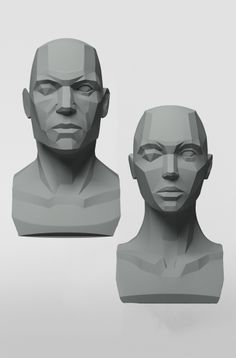 3dtotal Anatomy: Male & female planar busts - Drawing and sculpting the human face from a photo reference or life can be tricky, particularly when you are trying to create an original concept or composition. There are so many curved and organic surfaces to consider and portray, meaning it can be easy to lose your way in your work or become frustrated. For years artists have been making this process more straightforward by working from planar references.