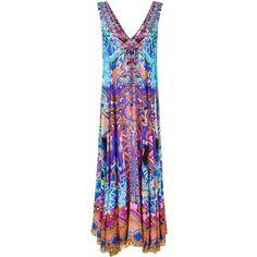 Camilla Embellished Print Maxi Dress ($401) ❤ liked on Polyvore featuring dresses, silk print dress, multi-color dress, colorful dresses, maxi dresses and patterned maxi dress