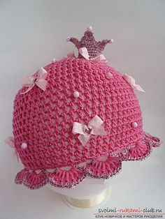 How to tie summer beautiful hats and panty hats for girls and boys, charts, description and photos. Crochet Summer Hats, Crochet Kids Hats, Crochet Baby Clothes, Knitted Hats, Knit Crochet, Baby Patterns, Crochet Patterns, Crochet Ornaments, Baby Hats