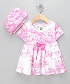 Take a look at this Hot Pink Toile Dolly Organic Dress & Beanie - Infant by Barn Organics on #zulily today!