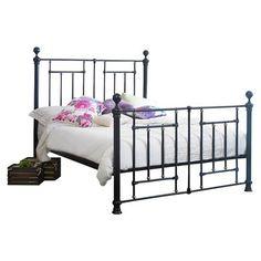 ACHICA | Sareer Fullerton Double Metal Bed Frame, Black