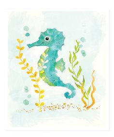Take a look at this Watercolor Seahorse Print on zulily today!For kids bathroom