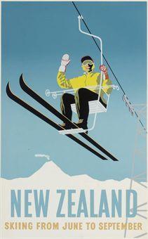 vintage ski poster - New Zealand - silkscreen, c.1930